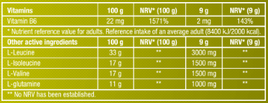 Thành phần dinh dưỡng sản phẩm BCAA ZERO BiotechUSA