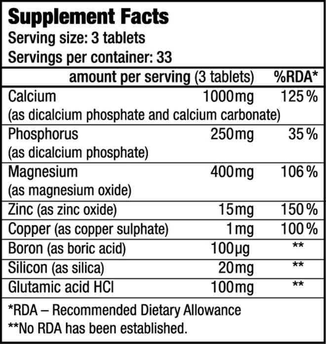 Thành phần dinh dưỡng Viên Uống Bổ Sung CALCIUM ZINC MAGNESIUM BiotechUSA